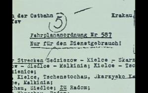 """Imagen del documental, en el que se muestra una Hoja de Ruta de un """"tren especial"""" de los ferrocarriles alemanes en Polonia."""